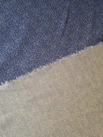 Dotties donkerblauw/bamboo - jacquard stof