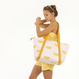 Thin Grid XL Popcorn Yellow - double gauze stof