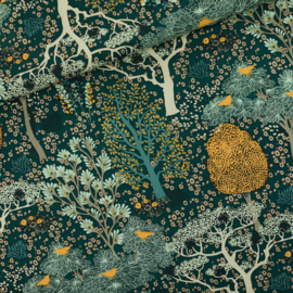 Oriental Gardens Gevelgroen - katoencanvas gabardine twill stof