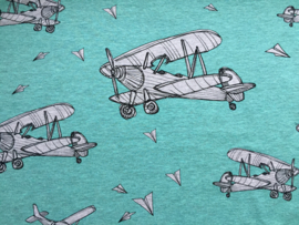 Planes mint - tricot stof