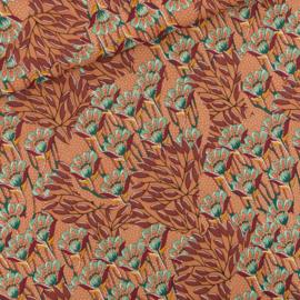 Gilly Flowers Zonnebrandbruin - viscose stof