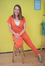 Dotties oranje/wit - tricot stof