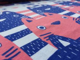 Kitty blauw/koraalrood - tricot stof