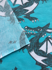 Dragon light turquoise - tricot stof
