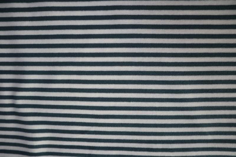 Rookblauw/wit gestreept - boordstof