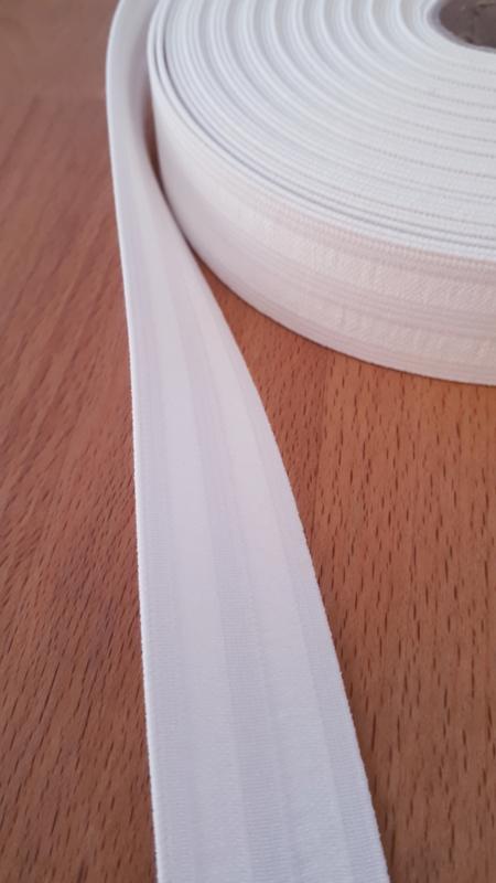 Elastiek, wit, 2,5 cm