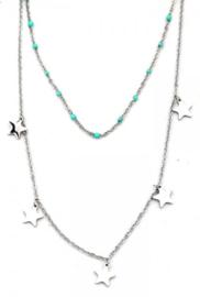 Zilveren en turquoise ketting 2-laags Stars