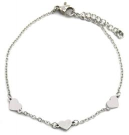 Zilveren armband Hartjes