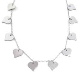 Zilveren ketting Hartjes sierlijk