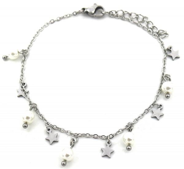 Zilveren armband Pearls & Stars