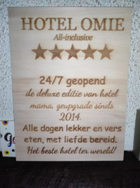 Tekstbord Hotel Oma gepersonaliseerd