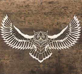 Uil met gespreide vleugels