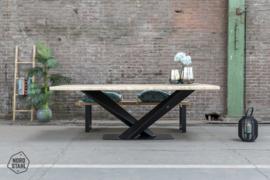 Eiken tafelblad boomkant en recht