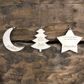 Kerstbal hout kerstboom