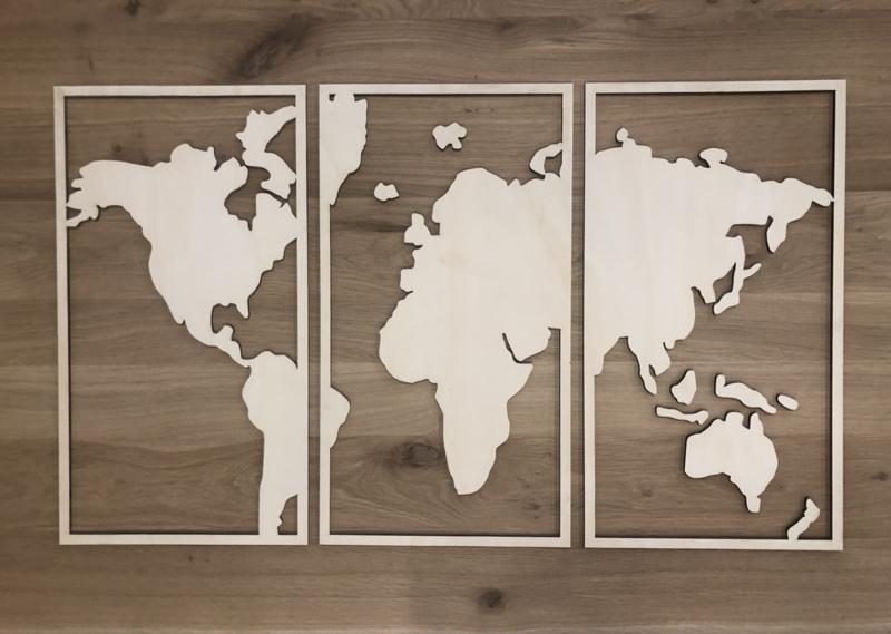 Wereldkaart 3 delig