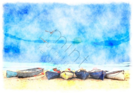 COASTAL BLUE LANDSCAPE mint by michelle A3
