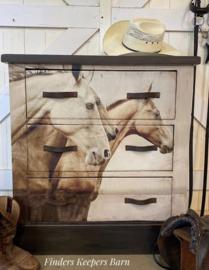 SEPIA HORSES - MINT BY MICHELLE DECOUPAGE PAPIER-A1