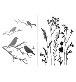 Vogels en veldboeket A4