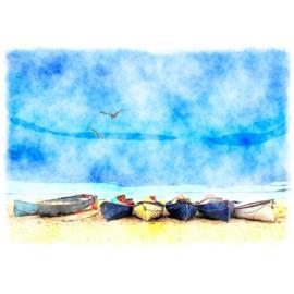 COASTAL BLUE LANDSCAPE mint by michelle decoupage papier A1