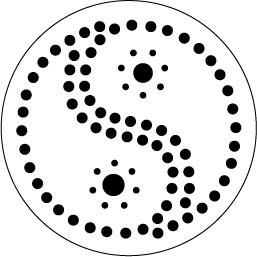 Stip sjabloon ying yang set van 3
