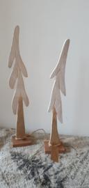 Set van 2 houten kerstbomen