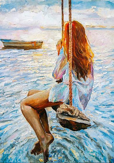 GIRL ON A SWING mint by michelle decoupagepapier A3