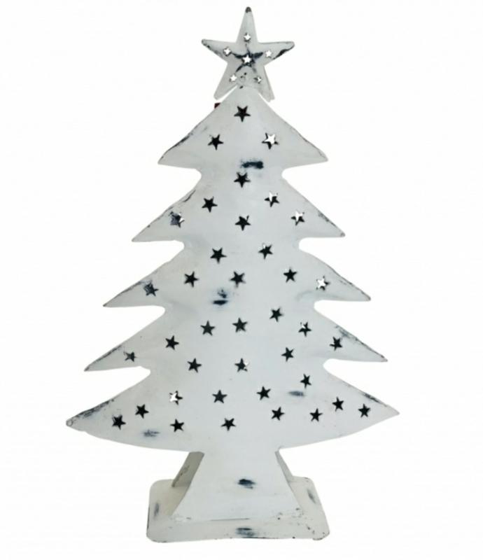 Metalen kerstboom wit 70cm