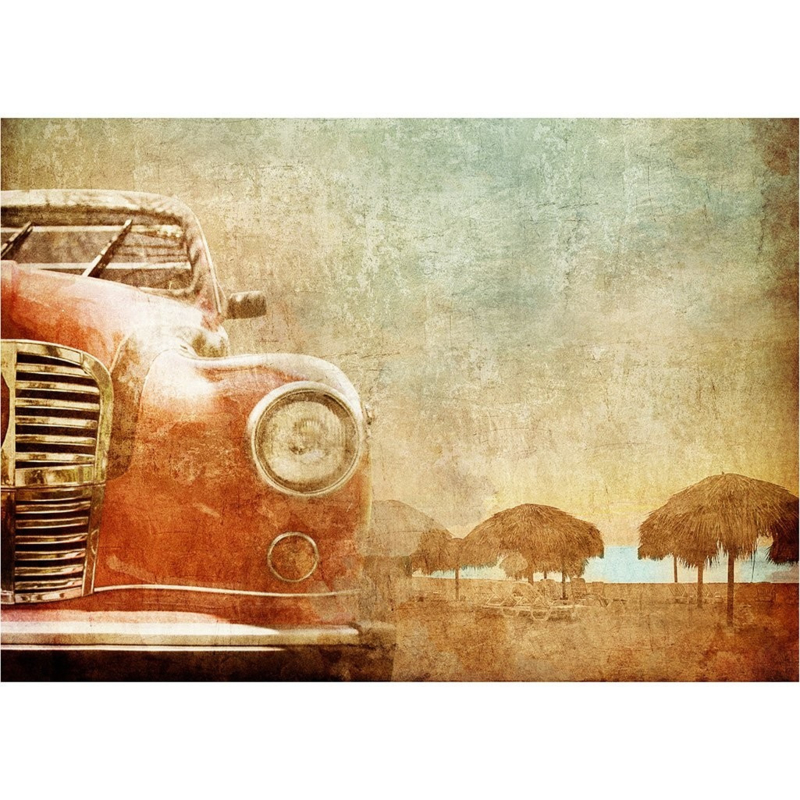 OLD RED CAR-MINT BY MICHELLE DECOUPAGE -A3