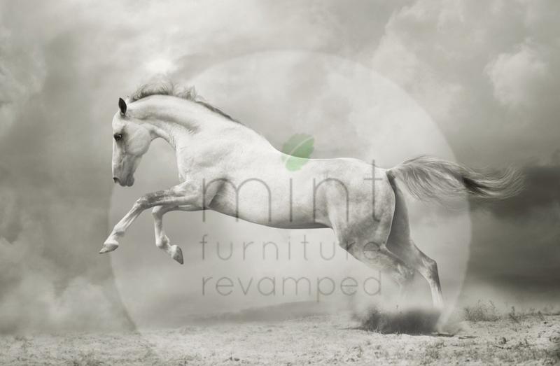 WHITE HORSE - MINT BY MICHELLE DECOUPAGE PAPIER -A1