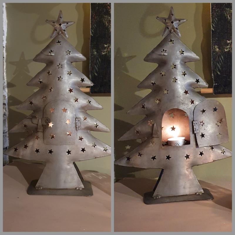 Stoere metalen kerstboom 40cm