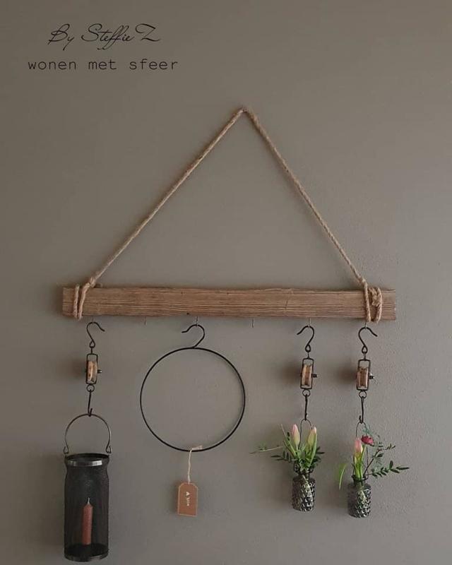 Sfeervolle Houten hanger met 5 haken