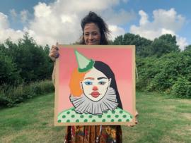 Origineel schilderij: Clowntje