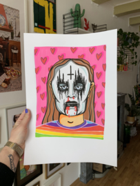 Originele tekening: Happy metal head (A3)