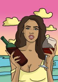 Print: Meisje met wijn