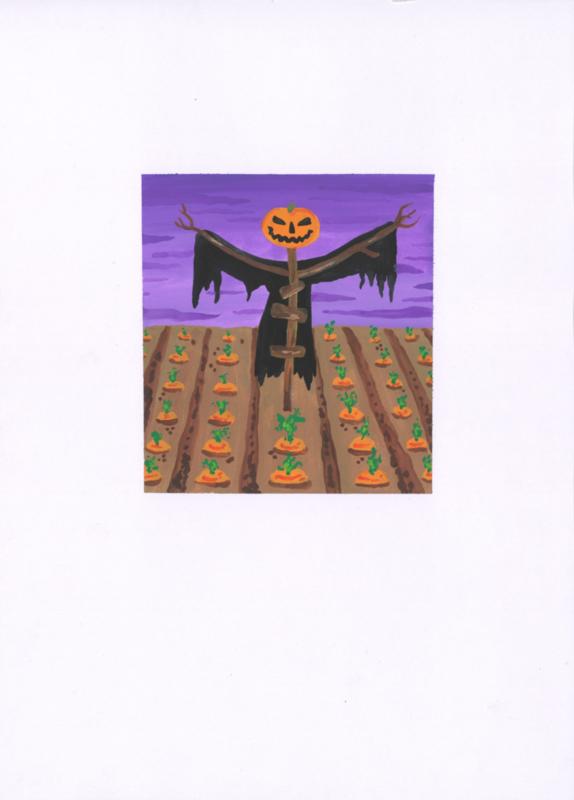 Originele tekening: Halloween akker