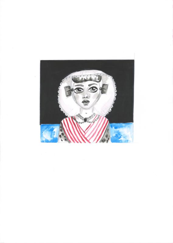 Originele tekening: Zeeuws meisje (A3)