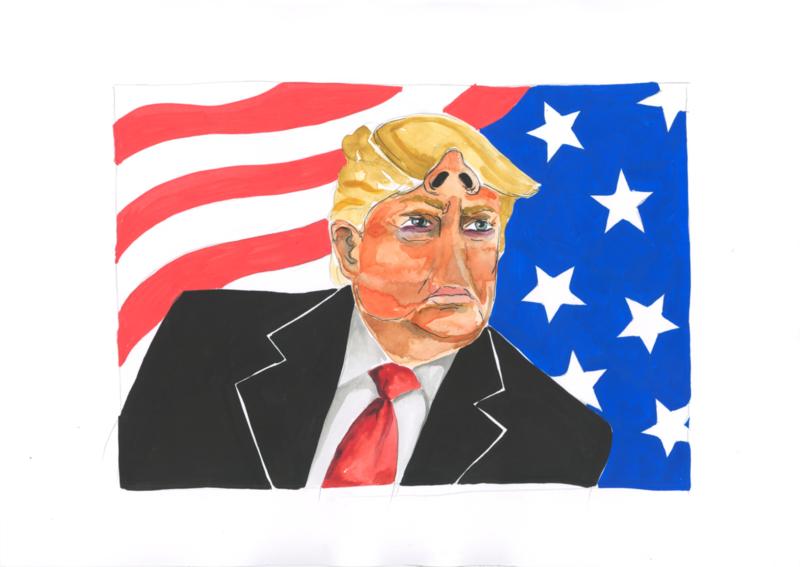 Originele tekening: Trump met neus op het voorhoofd