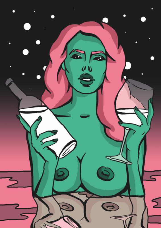 Print: Alien met wijn