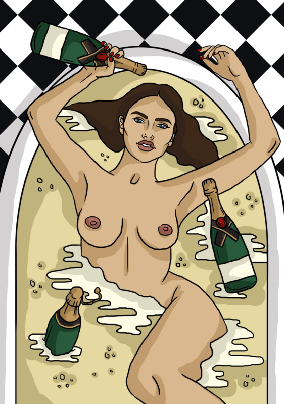 Print: Champagne in bad