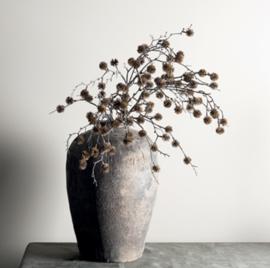 Twig plant dark brown pompom spray