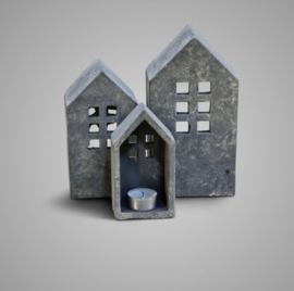 SET OF 3 BRYNXZ HOUSE MAJESTIC VINTAGE D.12-10-8 H.22-18-14