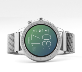 OOZOO Smartwatches - unisex - metalen mesh armband zilver met zilver gekleurde kast