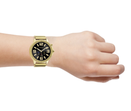 OOZOO Smartwatches - unisex - metalen mesh armband  goud met goud gekleurde kast