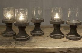 Waxine Isa glas op voet | Grey finish
