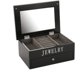 Jewellery box large Avantgarde black with silver letters