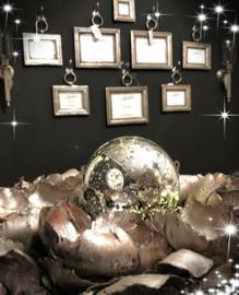 Elzet kerstbal R 15 Zilver met Ledverlichting