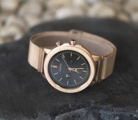 OOZOO Smartwatches - unisex - metalen mesh armband  rosé goud met rosé goud gekleurde kast