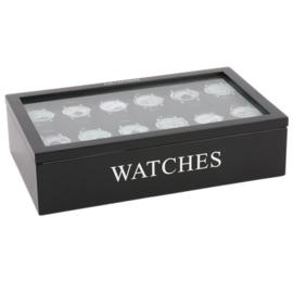 Horloge doos 12 vaks Avantgarde zwart met zilveren letters