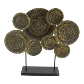 Kenzie Brass Iron Statue Circles Coral Pattern