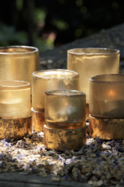 SORT. OF GOLDEN TEALIGHT WITH GOLDPLATED WOODENBASE 2021 S